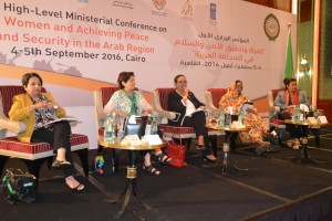 Karama's panel on civil society, from l-r Dr Lily Feidy, Layla Nafaa', Anissa Hassouna (moderator), Samia El Hashmi, Jamila Ali Rajaa