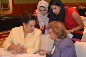 Ambassadors Inas Makkawy of the League of Arab States (seated leftl) and Mervat Tallawy of the Arab Woman Organisation (seated right)